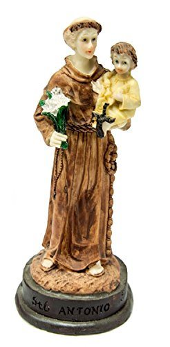 Saint Antonio De Padua Statue Hand Painted Figurine Holy Land 6'' by Holy Land Gifts