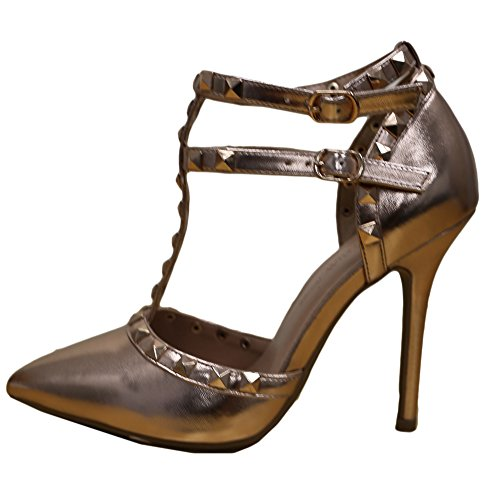 Gold Wild Womens Gold Strappy Heel Ankle Rose Pump Stud Strap Sandal Diva T Toe Stiletto Pointy ZrxBqwxIpn