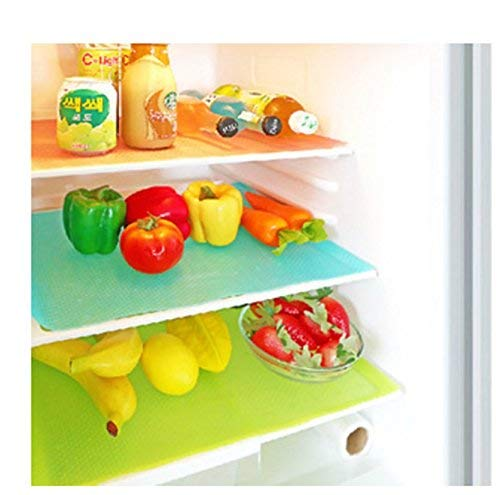 Yellow Weaves PVC Refrigerator Drawer Mats, 12X17 IN (Pack of 6)(Multicolor)