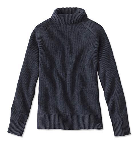 Orvis Men's Merino/Cotton Turtleneck Sweater, Blue, Medium
