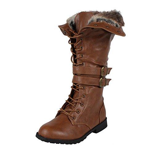 [West Blvd Shanghai Winter Combat Boots, Tan Pu, 6.5] (Brown Fur Boots)