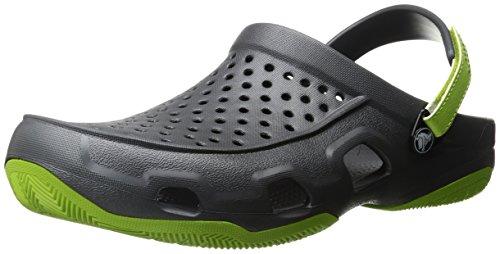 crocs Men's Swiftwater Deck Clog M Mule, Graphite/Volt Green, 11 M US 203981