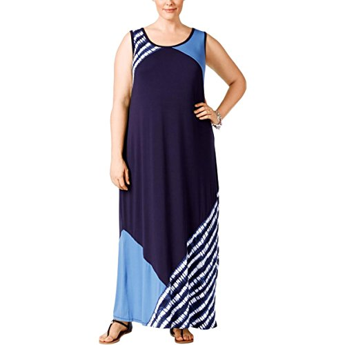 Style & Co. Womens Plus Colorblock Sleeveless Maxi Dress Blue 1X