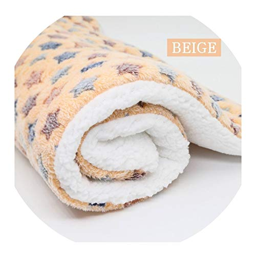Pet Large Dog Blanket Winter Pet Bed Mat Paw Print Puppy House for Cat Fleece Lounger Dogs Cushion Cats Pad,Beige,70x55cm