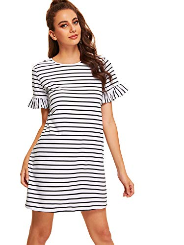 Floerns Women's Striped Short Sleeve Loose Swing T-Shirt Dress White-2 ()