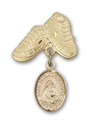 ReligiousObsession's 14K Gold Baby Badge with St. Bede the Venerable Charm and Baby Boots Pin