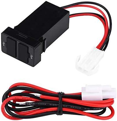 Tbest USBカーチャージャー、12V-24V 2.1A ABSプラスチックデュアルUSBポートカーチャージャーパワーアダプターソケット、携帯電話用ブラック