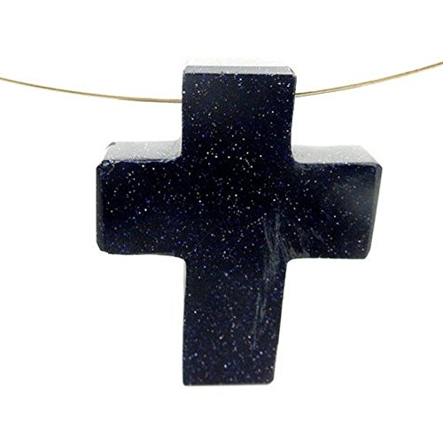 1 (ONE) Purple Goldstone Cross Pendant Charm - Top Side to Side Drilled Bead with Rock Paradise Exclusive Certificate of Authenticity (AM2B15-03)