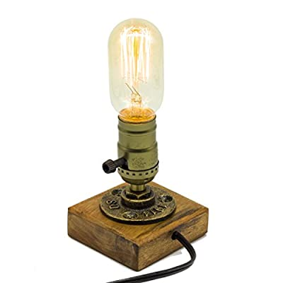 """Y-Nut Loft Style Lamp, """"Benjamin"""", Steampunk Industrial Vintage Style, Water Pipe Table Desk Light With Dimmer BT16-0201, Aged Rustic Bronze Metal"""