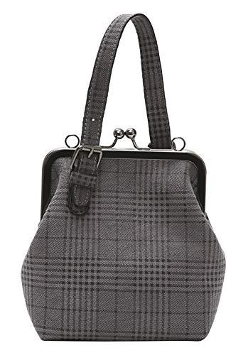 Onfashion Women's Adjustable Strap Shoulder Handbag Crossbody Bag Plaid Clutch Purse Grey ()