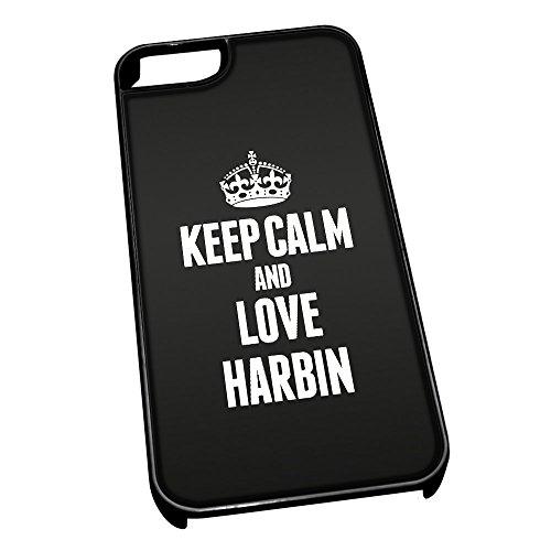 Nero cover per iPhone 5/5S 2337nero Keep Calm and Love Harbin