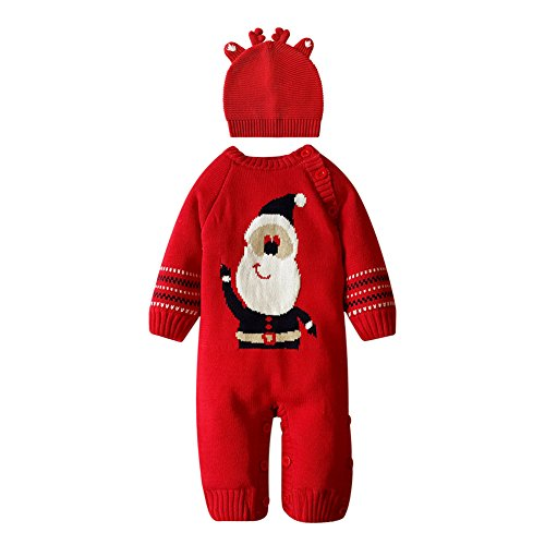 [Fashion Story Toddler Unisex Baby Newborn Baby Kids Xmas Sweater Deer Theme Christmas Infant Romper Suit 0-18 Months With Cap] (Bad Santa Costume Uk)