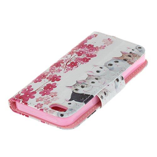 Ecoway Para iPhone 5/iPhone SE Funda, Serie pintada Caja del teléfono de moda (Flor del ciruelo) PU Leather Cubierta , Función de Soporte Billetera con Tapa para Tarjetas Soporte para Teléfono Compati Gatos