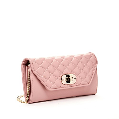 SUSU Cross body Bag for Women Small Crossbody with Built in Wallet Quilted Sheepskin Clutch Purse Handbag Long Chain Strap Purses Millennial Pink Leather Buckle Closure Cute Designer Handbags (Metallic Handbag Buckle)