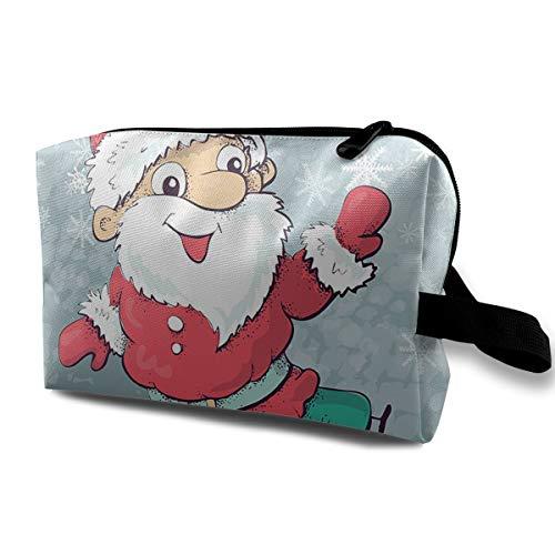 LIUYAN Travel Toiletry Bag Santa Skating On Ice Zipper Pouch for Women Girls
