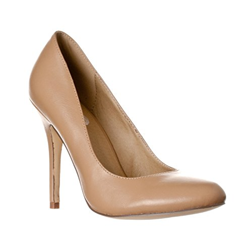 Riverberry Women's Piper Round Toe, High Heel Pumps, Taupe PU, 7.5