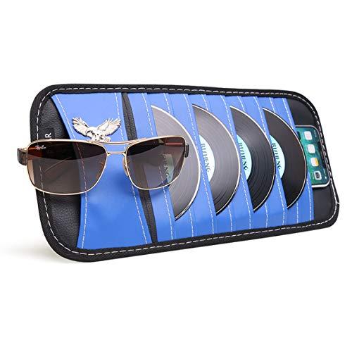 (VXAR CD DVD Sun Visor Organizer Holder Car Detachable PU Auto Multi-Purpose Bag Sunglasses Eagle Badge Vehicle-Mounted 10 Pockets-Blue )