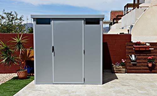 Thermoestank Caseta Metálica Exterior Jardín con Aislamiento térmico Silver Metallic 2.04 x 2.04 MTS: Amazon.es: Jardín