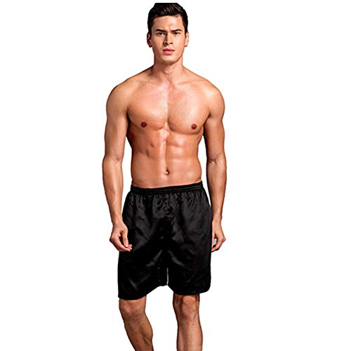 SexyTown Mens Classic Satin Boxers Shorts Summer Lounge Underwear Beach Shorts (XXX-Large, Black)
