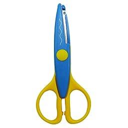 Blue Craft Scissors DIY Kids Wave Design School Office Stationery 5.4 Long