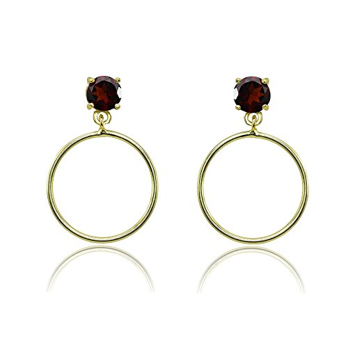 5mm Round Garnet Post Earrings - Yellow Gold Flashed Sterling Silver 5mm Garnet Dangling Round Hoop Stud Earrings