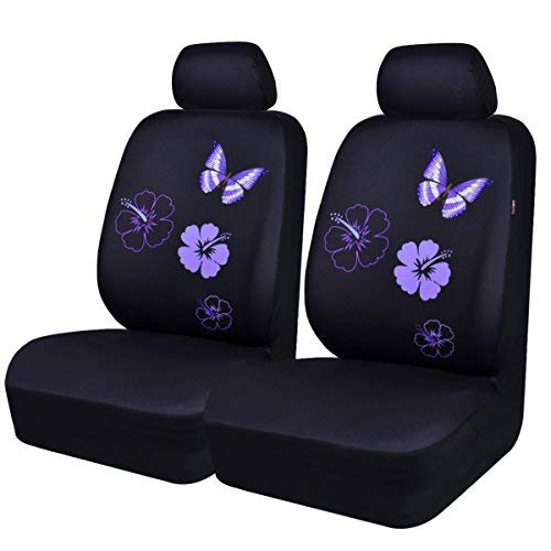 CAR PASS Flower and Butterfly Universal Car Seat Covers, Suvs,sedans,Vehicles,Airbag Compatible (6PCS, Black and Purple)