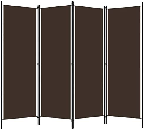 vidaXL 4-Panel Room Divider Folding Panel Screen Movable Partition Privacy Separator Wall Furniture Indoor Bedroom Office Brown 200x180 cm