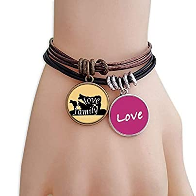 FerryLife Black Animal Hyena Silhouette Natural Love Bracelet Leather Rope Wristband Couple Set Estimated Price £9.99 -