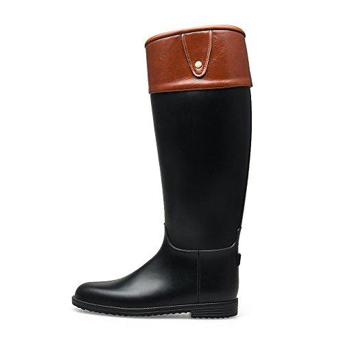 Bota De Lluvia Tongpu Tall Knee-high Pu Leather Wrap Negro