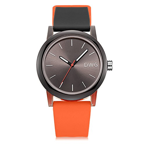 (Silicone Quartz Watch Men Women Casual Analog Jelly Unisex Wrist Watch Simple Fashion Design Nice Colors Sport Watches (Orange Strap&Black Dial))