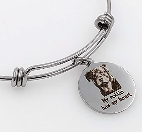 My Rottie, Rottweiler Has My Heart Engraved Expandable Bangle Bracelet - Rottweiler Jewelry