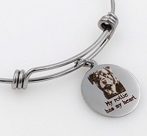 My Rottie, Rottweiler Has My Heart Engraved Expandable Bangle Bracelet (Jewelry Rottweiler)