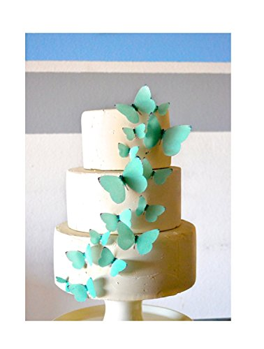 Edible Butterflies - Teal Set of 15 - Cake and Cupcake Toppers, -