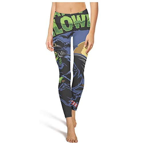 juiertj rt Long Running Halloween Witch fliying Broom Leggings Womens Ladies Sweat-Wicking Athletic Yoga Pant