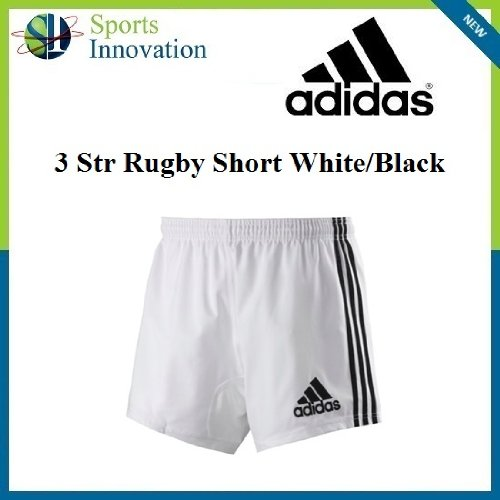 3 Stripe Rugby Shorts White and Black XL Adidas