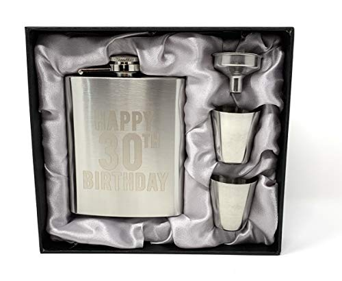 Happy 30th Birthday Flask! Set of 1 7oz Engraved Stainless Steel Flask with 2 Shot Glasses and a Funnel! Perfect 30th Birthday Gift (30th Birthday) ()