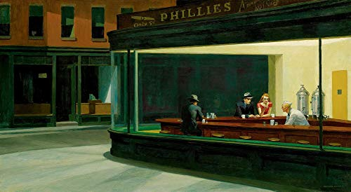 $50-$4000 Hand Painted Art Paintings by College Teachers - Nighthawks Edward Hopper American Realist Oil Painting Reproduction for Wall Decor Canvas Old Famous -Size08