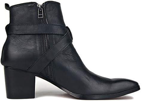 HealHeatersⓇ Herren Motorradstiefel Hohe Knöchel Leder Reißverschlüsse Schwarze Schuhe Mit Strapazierfähiger Rutschfester Gummilaufsohle  tIFv9