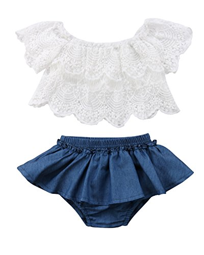 (Toddler Newborn Baby Girl 2pcs Outfits Off Shoulder Lace Tops+Denim Shorts Skirt Clothes Set (2-3)