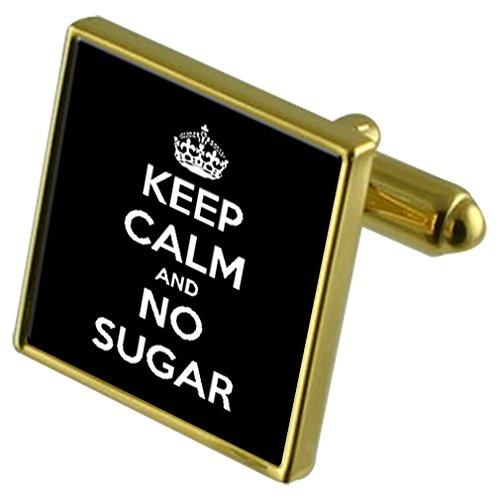 Diet Not Sugar Gold-tone Cufflinks Crystal Tie Clip Gift Set