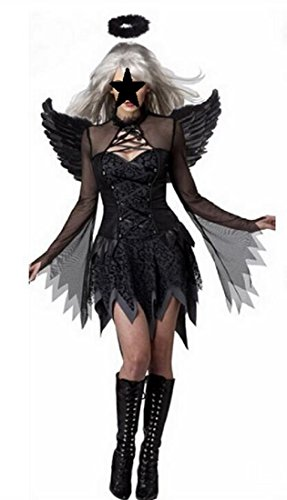 Adult Fallen Angel Costumes (AHJ-C Women's Night Fallen Dark Angel Costume Dress [ L / M size for womens with Dress, Halo, Wings ] Halloween Fancy Cosplay (M))