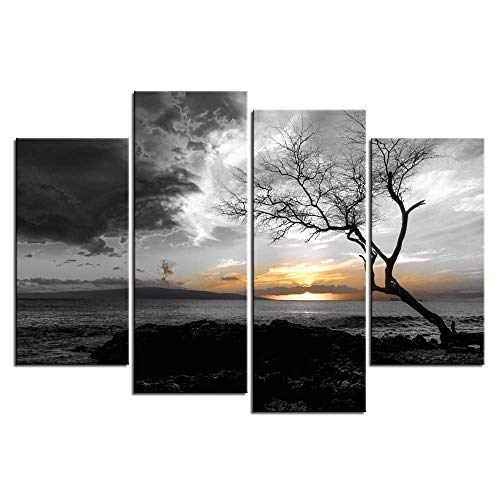 LevvArts - 4 Panel Black and White Canvas Print Wall Art Lonely Tree in Sunrise Picture Ocean Seacape Painting Modern Home Ofiice Wall Decor Framed and Ready to Hang (Best Black And White Art)