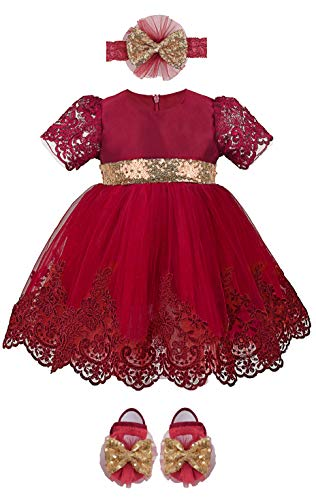 Lilax Baby Girl Newborn Lace Princess Wedding Party Dress Gown 4 Piece Deluxe Set 3-6 Months Red