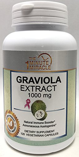GRAVIOLA Extract 1000 mg 2 Capsules - Made from The Leaf and stem - 120 Vegetarian Capsules Per Bottle