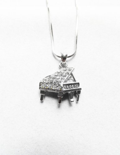 [Accessory Silver - Plated Baby Grand Piano Pendant Necklace] (Orchestra Conductor Costume)