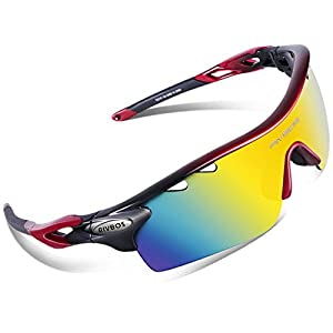 RIVBOS 801 Polarized Sports Sunglasses Sun Glasses with 5 Interchangeable Lenses for Men Women Baseball Cycling Runing (801-Red)