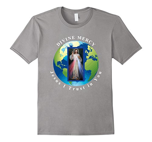 Mens Divine Mercy World Jesus I Trust in You T-Shirt XL Slate