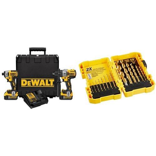 DEWALT DCK299P2 20V MAX XR Lithium Ion Brushless Premium Hammerdrill & Impact Driver Combo Kit, 5.0 Ah with Titanium Speed Tip Drill Bit Set (Tamaño: 5.0 Ah)