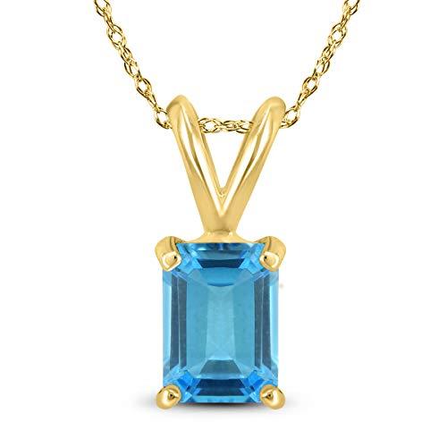 14K Yellow Gold 7x5MM Emerald Shaped Blue Topaz Pendant