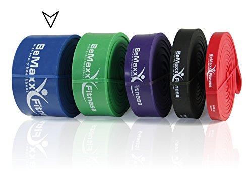 Klimmzughilfe Pull Up Resistance Band von BeMaxx Fitness + Bonus Trainingsguide - DAS Powerlifting Widerstandsband - Klimmzugband für Ganz-Körper-Workout, Krafttraining, CrossFit, Stretching, Yoga (Blau)